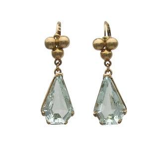 14k Gold Retro Aquamarine Pierced Earrings Earrings - a Pair For Sale
