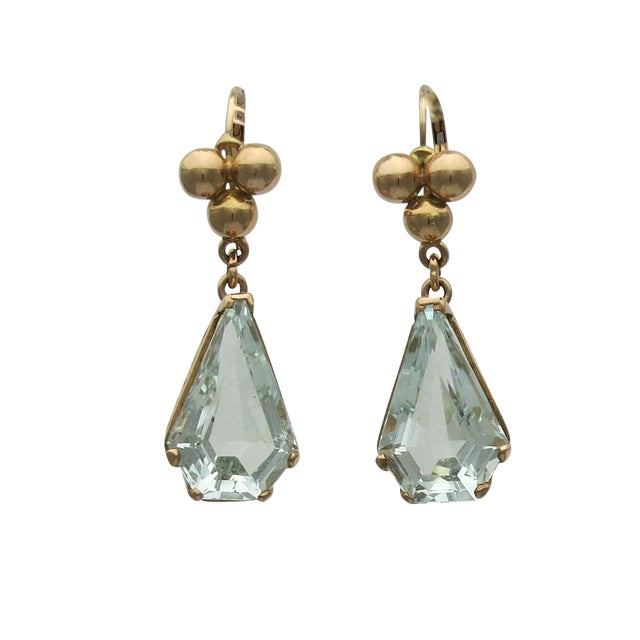 Image of 14k Gold Retro Aquamarine Pierced Earrings Earrings - a Pair