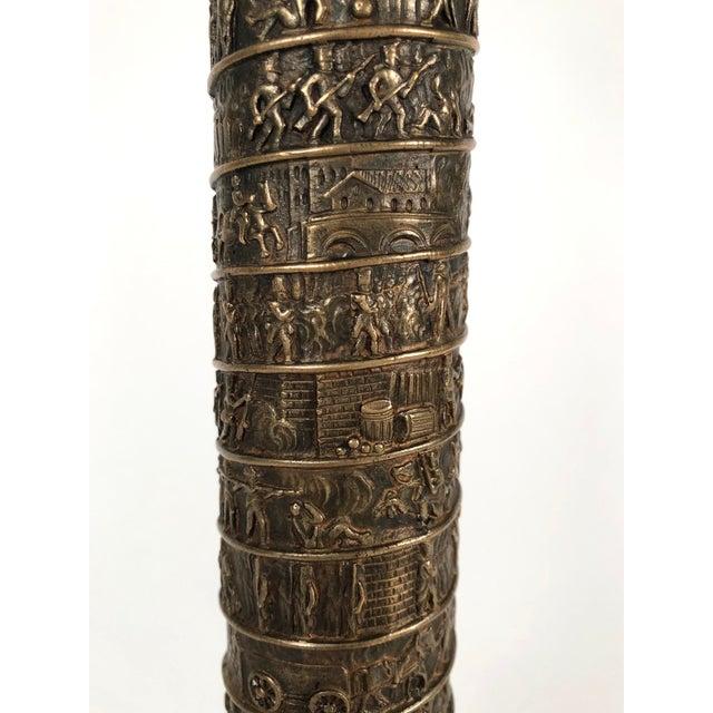 Gold Large Grand Tour Gilt Bronze Model of the Place Vendome Napoleon Column in Paris For Sale - Image 8 of 13