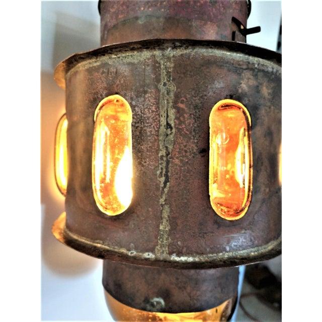 Felipe Delfinger Mid Century Copper and Imprisoned Amber Glass Lantern For Sale - Image 4 of 9