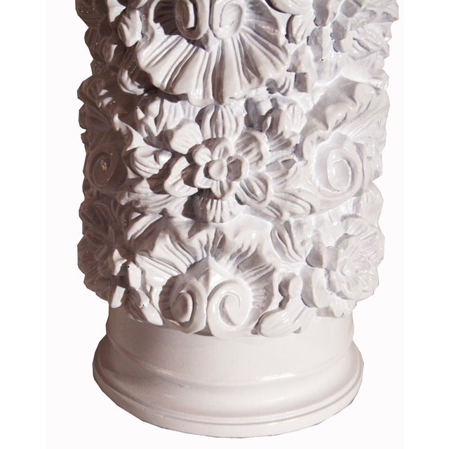 Glossy White Carved Floral Lamps - A Pair - Image 8 of 8
