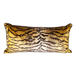 Large Velvet and Silk Tiger Lumbar Pillow For Sale