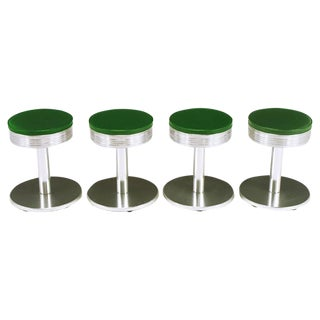 Four Joan Casas Y Ortinez for Indecasa Aluminum Tabourets For Sale