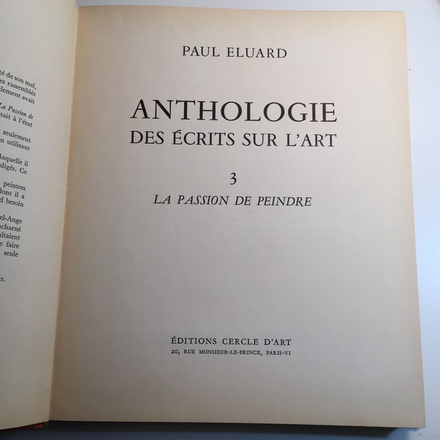 By Paul Eluard. Paris: Editions Cercle D'Art, 1954. Volume 3 La Passion de Peindre. Text in French. Hardcover, first...