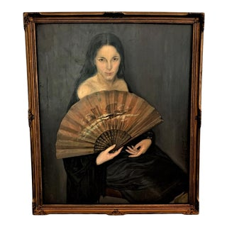 Vintage Argentinian Lady With a Fan Painting Signed V. E. R., Framed For Sale