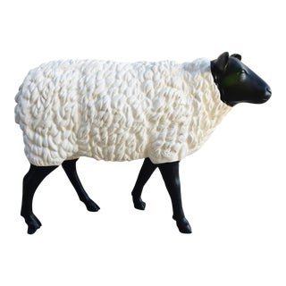 Vintage Metal Life-Size Sheep Lamb Garden, Patio, Lawn or House Statue For Sale
