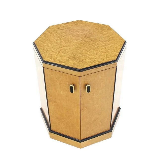 Tan Birds Eye Maple Side Table Pedestal For Sale - Image 8 of 9