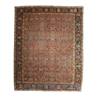 Antique Hand Knotted Wool Persian Hariz Rug - 8′ × 9′10″ For Sale