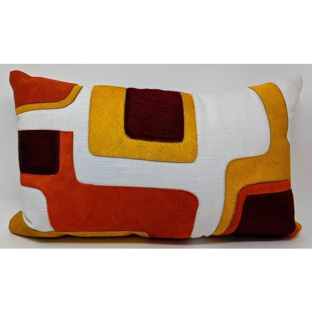 Boho Chic Linen and Cowhide Rectangular Pillow For Sale - Image 3 of 8
