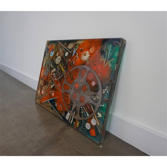 Lucite Double-Sided Collage Imbedded in Lucite For Sale - Image 7 of 7