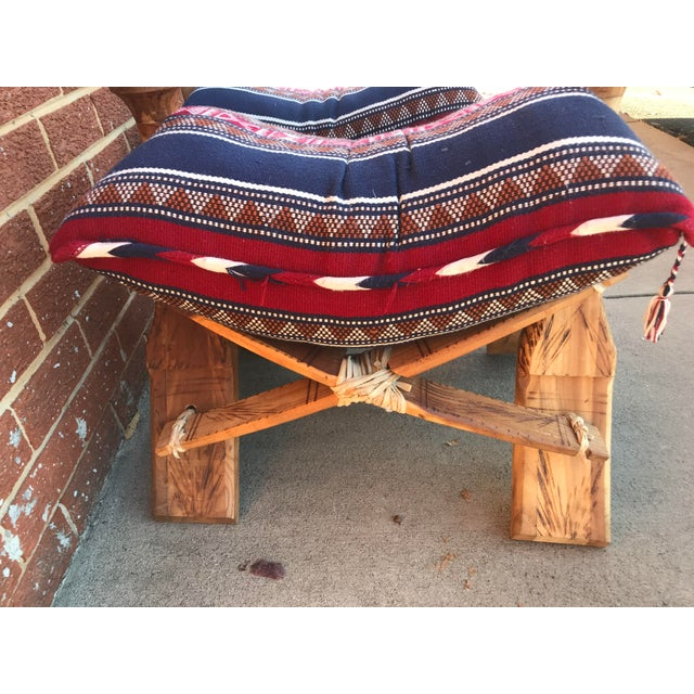 Wood Modern Wooden Camel Saddle Benches- A Pair For Sale - Image 7 of 10
