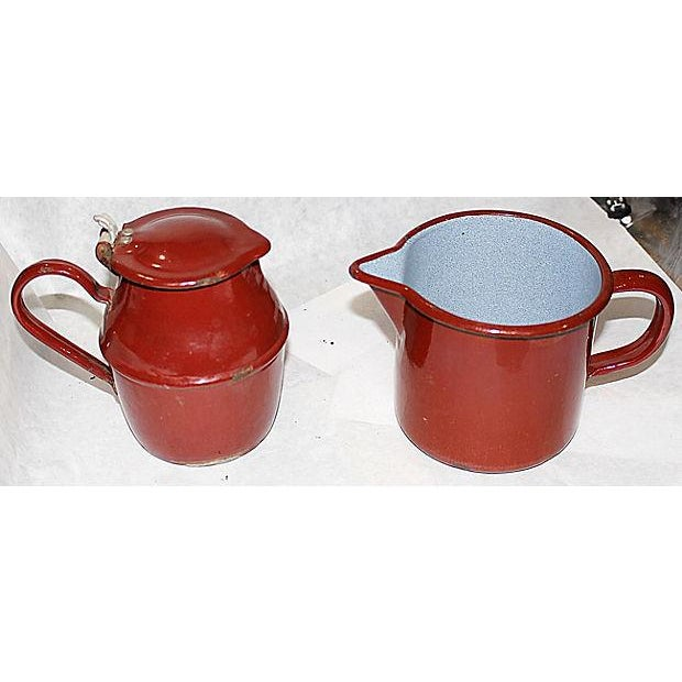 French Enamelware Creamer and Pichter - Image 4 of 5