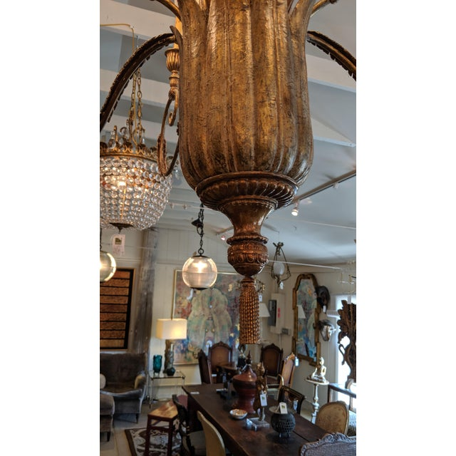 Traditional Contemporary Large Gilded 9 Arm Chandelier For Sale - Image 3 of 9