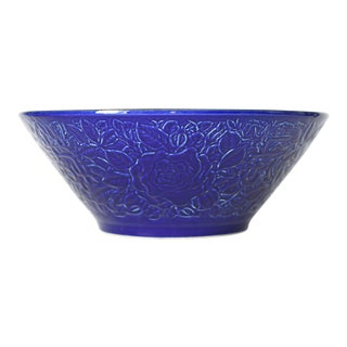 Royal Blue Porcelain Rose-Embossed Sink Basin