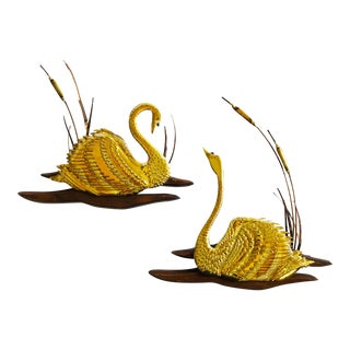 Mid Century Wood and Brass Wall Swans - Set of 2 For Sale