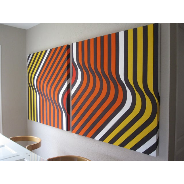Orange Ripples 1970 Large Supergraphic Print Set - Image 4 of 5