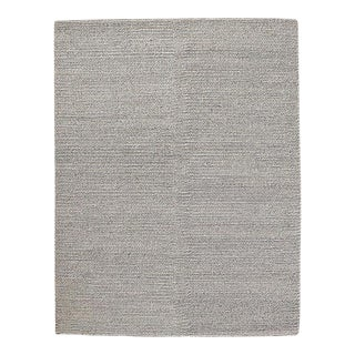 2010s Minimalism Restoration Hardware Metallic Chunky Braided Grey/Silve Wool Rug