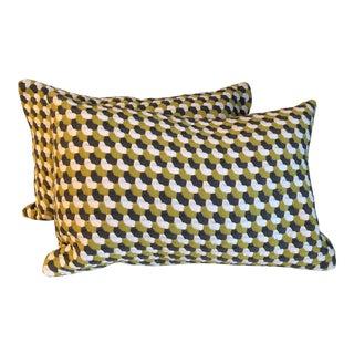 Green Woven Bolster Pillows - A Pair For Sale