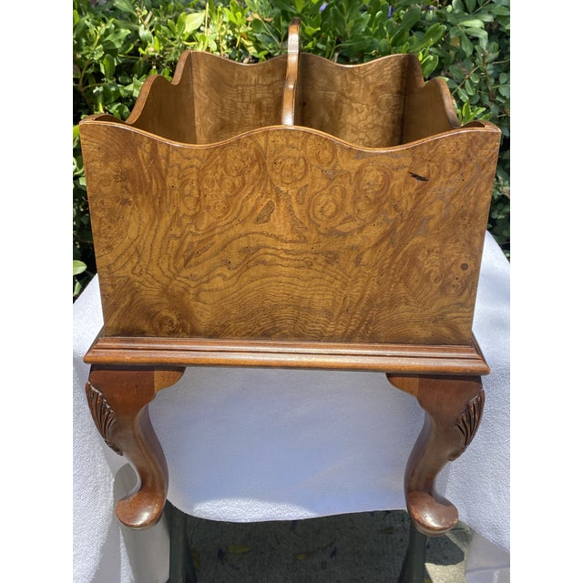 1980s Baker Furniture Queen Anne Burl Wood and Mahogany Magazine Rack For Sale - Image 12 of 13