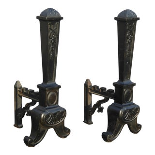 Vintage Wrought Iron Black Fireplace Andirons - a Pair For Sale