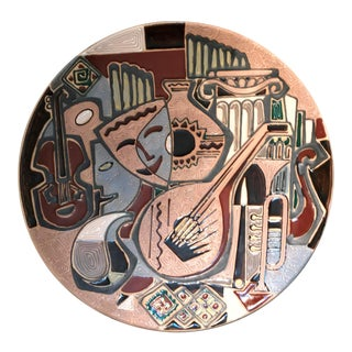 Large 1960's Abstract Cubist Charger Plate