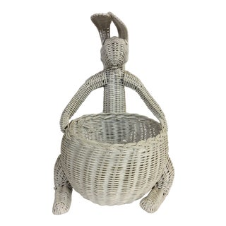 Mid Century Mario Torres Style Rattan White Rabbit Basket For Sale