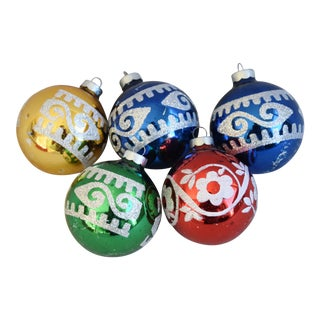 Large Vintage Colorful Christmas Ornaments W/Box - Set of 5 For Sale