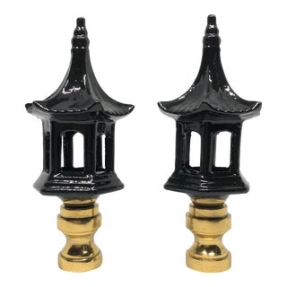 Chinoiserie Black Lacquered Porcelain Pagoda Lamp Finials - a Pair