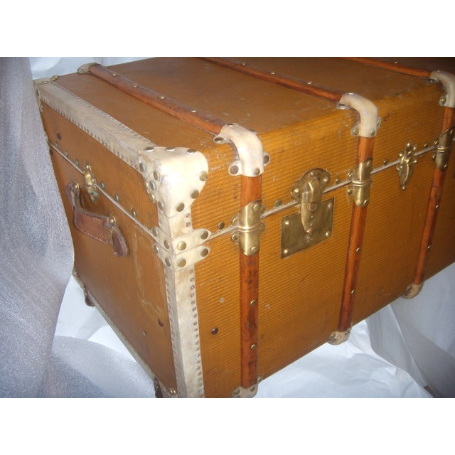 French Wood, Vellum & Leather Trunk - Image 5 of 10