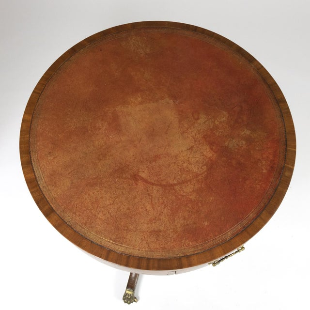 Regency Period Mahogany Drum Table With Embossed Leather Inset and Lion Paw Casters, English Circa 1820 For Sale In San Francisco - Image 6 of 9