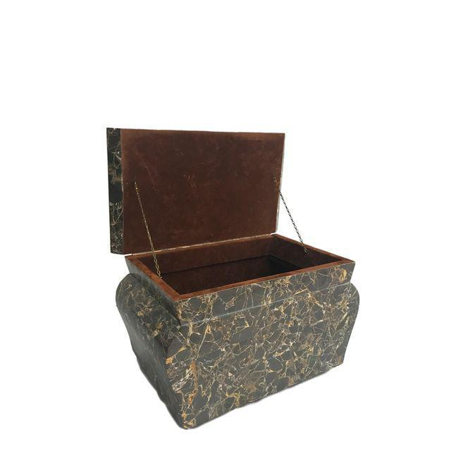 Antique Marble Hollywood Regency Mini Trunk - Image 1 of 9