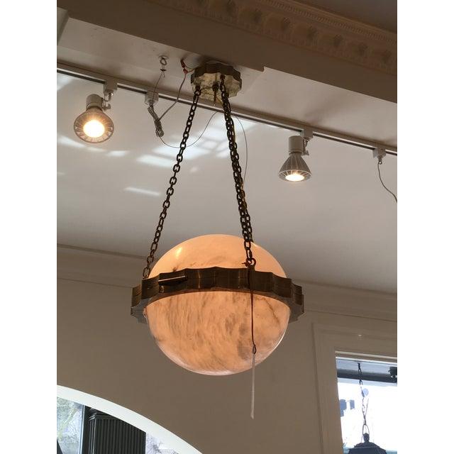 New! Visual Comfort Antique Brass & Alabaster Globe Light Fixture - New - Image 3 of 4