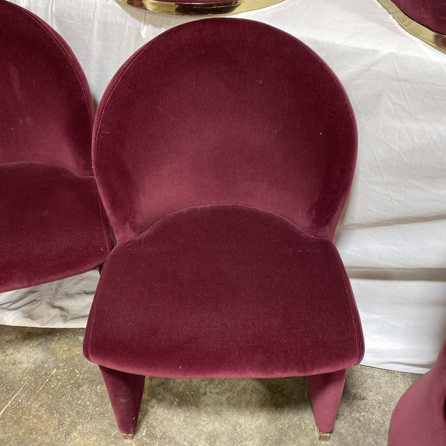 Contemporary Velvet & Brass Dining Chairs - Set/6 For Sale - Image 4 of 12