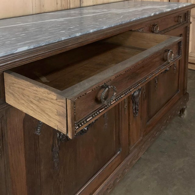 Antique French Louis XVI Marble Top Buffet For Sale - Image 9 of 13