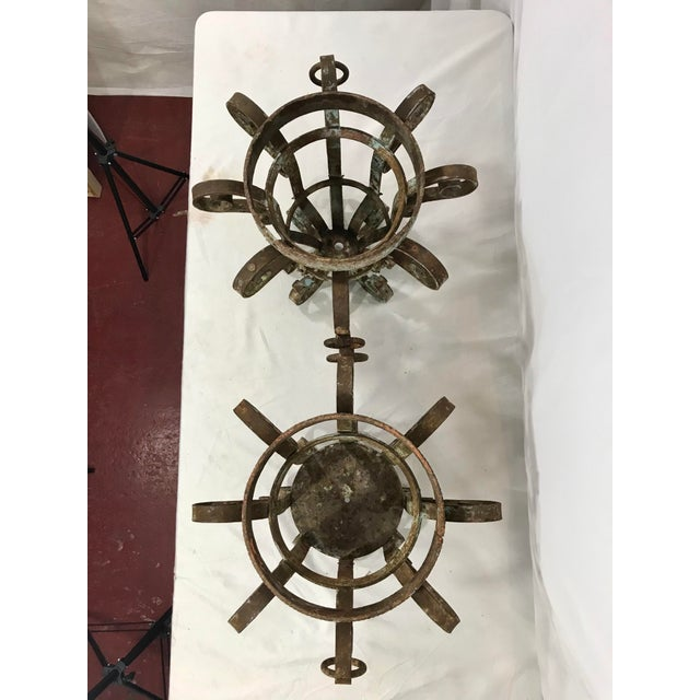 Wrought Iron Fretwork Planters a Pair For Sale - Image 12 of 13