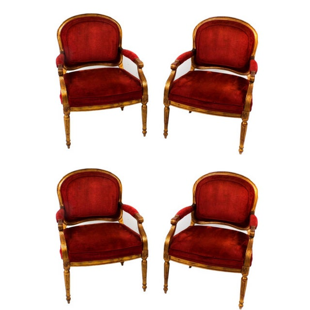 Hollywood Regency Red Velvet Bergere Armchairs Dining Chairs - Set of 4 For Sale - Image 13 of 13