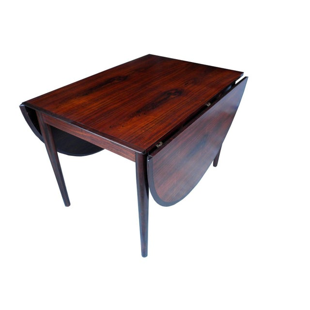 Mid 20th Century Danish Modern Drop Leaf Solid Rosewood Dining Table by Henry Rosengren Hansen For Sale - Image 5 of 10