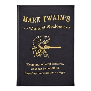"""""""Mark Twain's Words Of Wisdom"""", Bonded Leather Book in Black For Sale"""