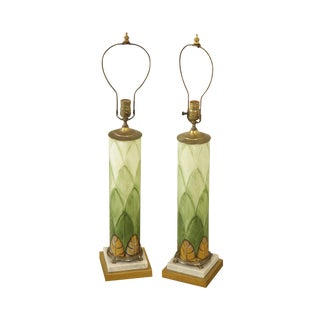 Pair Handpainted Glass Art Deco Table Lamps Leaf Pattern Marble + Brass Base For Sale