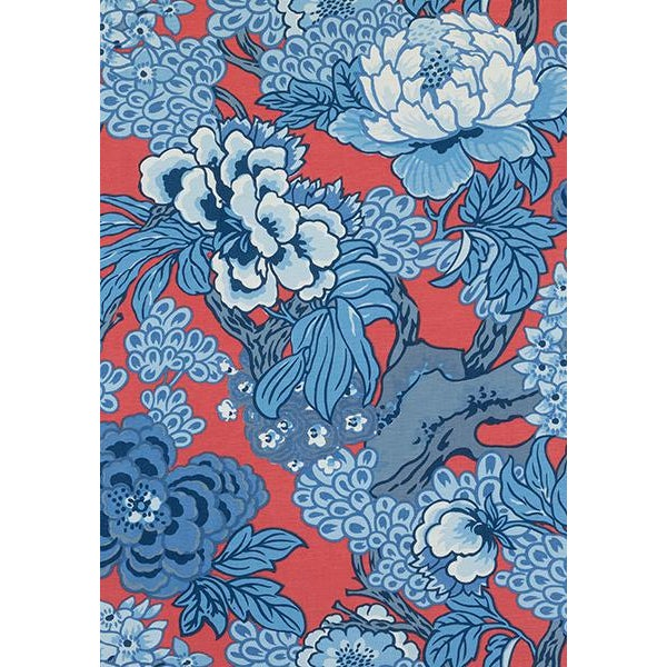 Add a pop of color to your room with this bold floral pillow cover with a bit of an Asian flair. Shades of blue on a red...