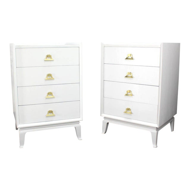 Mid-Century Modern White Lacquer Brass Pulls High Chest Stands - a Pair For Sale - Image 10 of 10