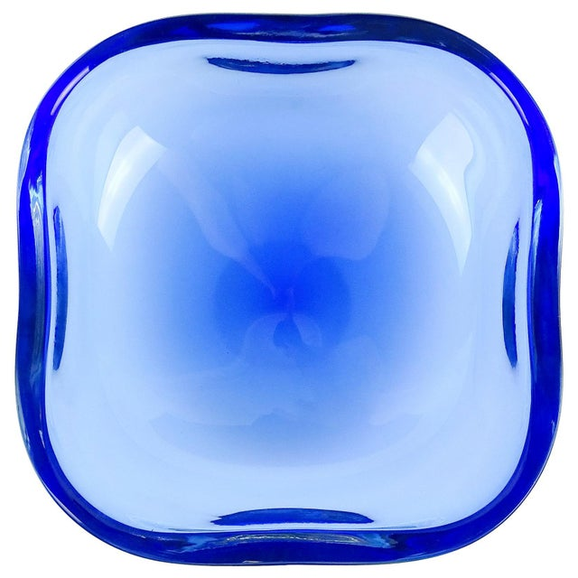Late 20th Century Oggetti Murano Sommerso Cobalt Blue Italian Art Glass Centerpiece Bowl For Sale - Image 5 of 5