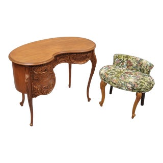 Vintage French Baroque Style Kidney Bean Shaped Vanity Desk & Bench Chair For Sale
