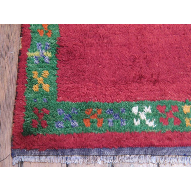 Traditional Red Tulu with Green Border For Sale - Image 3 of 7