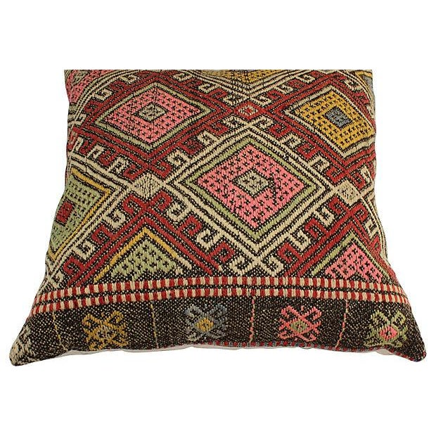 Vintage Turkish Kilim Floor Pillows - A Pair - Image 4 of 6