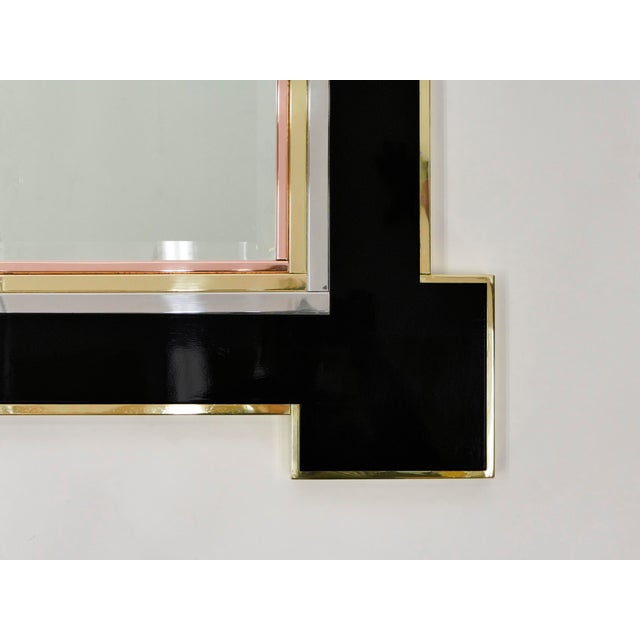 1975 Alain Delon for Maison Jansen Lacquer and Brass Wall Mirror For Sale - Image 6 of 13