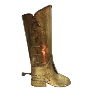 1960s Hollywood Regency Brass Boot Umbrella Stand For Sale