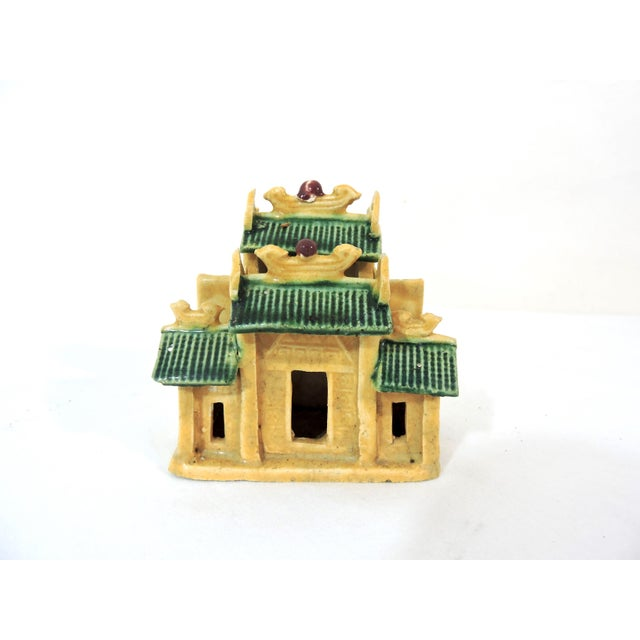 Asian Vintage Ceramic Chinese Planter / Garden Ornaments - Bridge, Temple and Pavilion - Set of 3 For Sale - Image 3 of 6