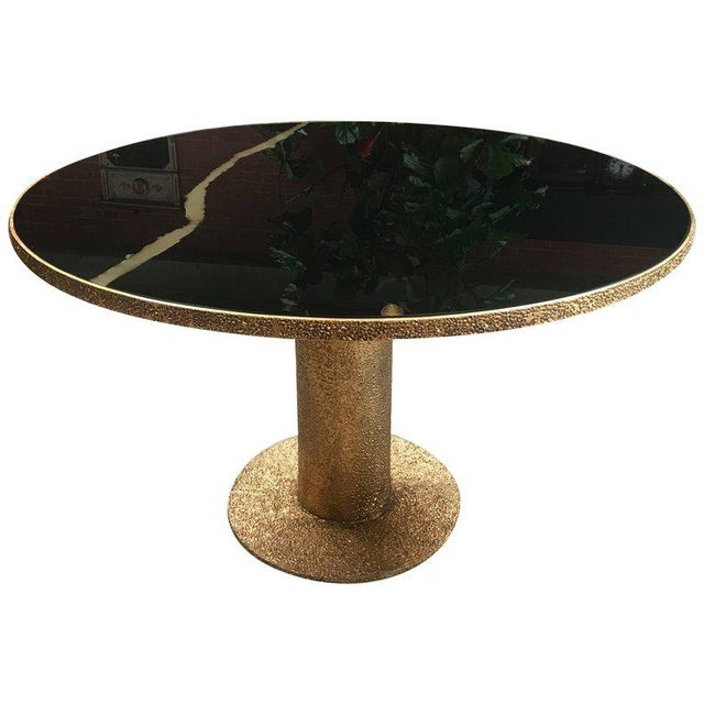 Gold Round Brass and Glass Dining Table, Italy For Sale - Image 8 of 8
