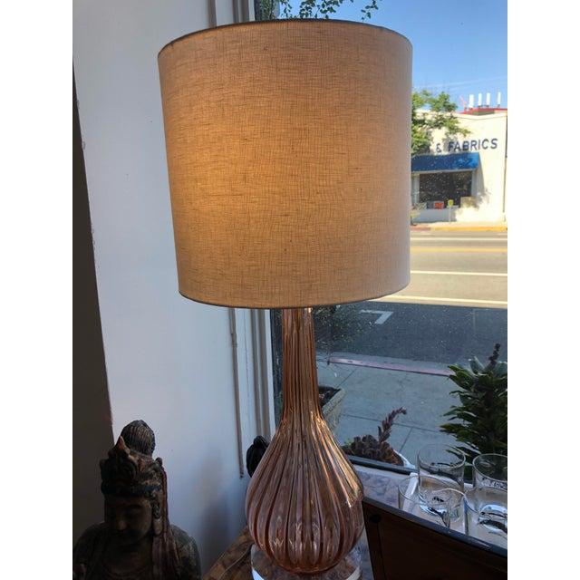 Glass Italian Mid-Century Modern Pink Murano Glass Lamp For Sale - Image 7 of 10